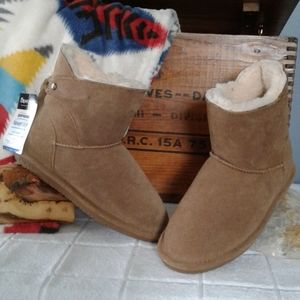 Bearpaw Mia suede shearling fringe trim ankle boot